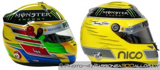 I caschi di Hamilton (a sinistra) e Rosberg (a destra)
