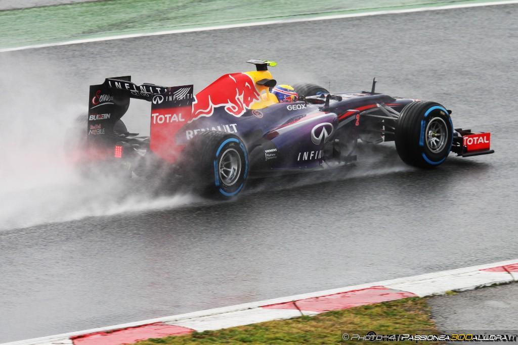 Barcellona, Test 3, D1: Webber e la pioggia al top