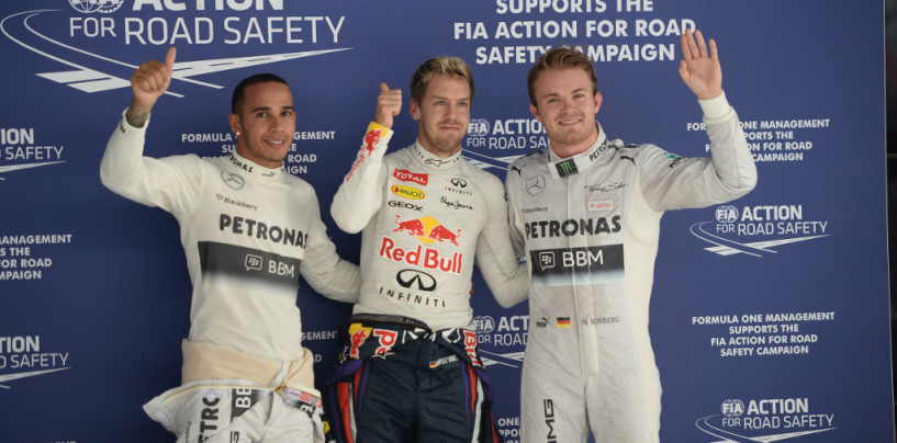Vettel in pole in India, davanti a Rosberg e Hamilton