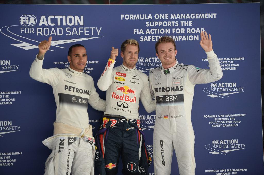 Vettel in pole in India, davanti a Rosberg e Hamilton