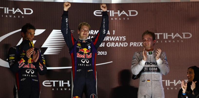Vettel stravince anche ad Abu Dhabi, davanti a Webber e Rosberg