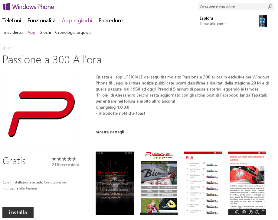 Aggiornamento 1.0.3.0 per la nostra App Windows Phone