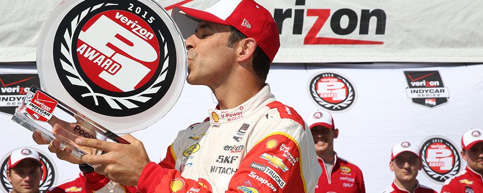 Indycar, la pole va a Castroneves, paura per Kimball