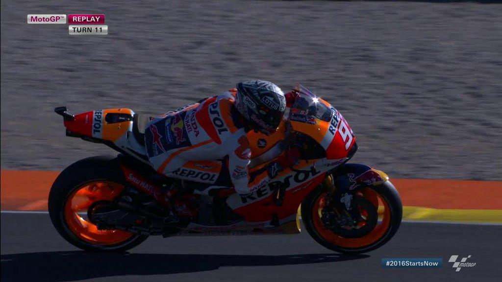 MotoGP   Márquez al comando (con caduta) nei test di Valencia