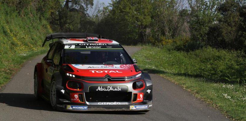 """<span class=""""entry-title-primary"""">WRC   Corsica: Meeke amministra il vantaggio, Tänak out</span> <span class=""""entry-subtitle"""">A fine giornata, il distacco tra il nordirlandese e Ogier è invariato. Camilli fuori in WRC-2</span>"""