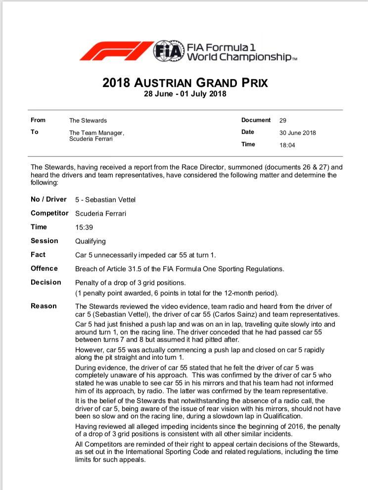 F1 | GP Austria, Vettel penalizzato di tre posizioni per aver bloccato Sainz in qualifica 1