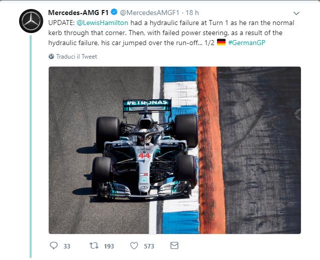 F1 | Mercedes spiega il guasto al servosterzo sulla W09 di Hamilton 1