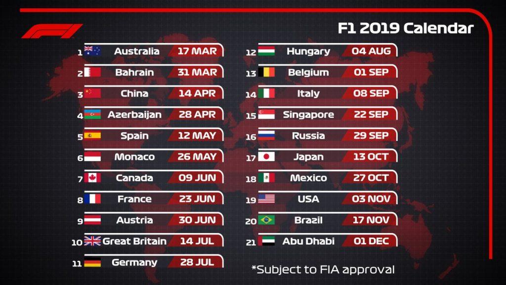 F1 | Diramato il calendario provvisorio 2019 1