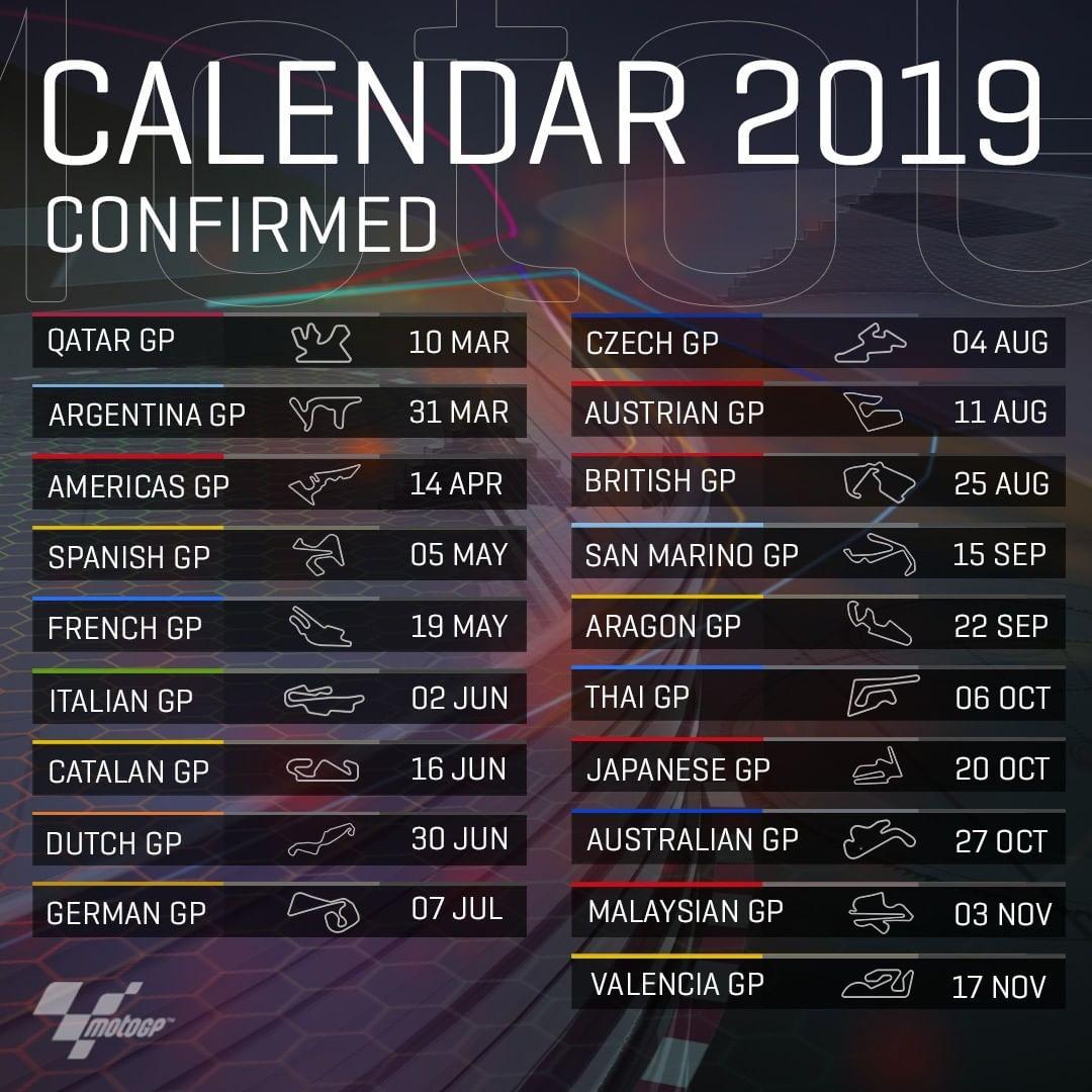 Motomondiale   Confermato il calendario per la stagione 2019
