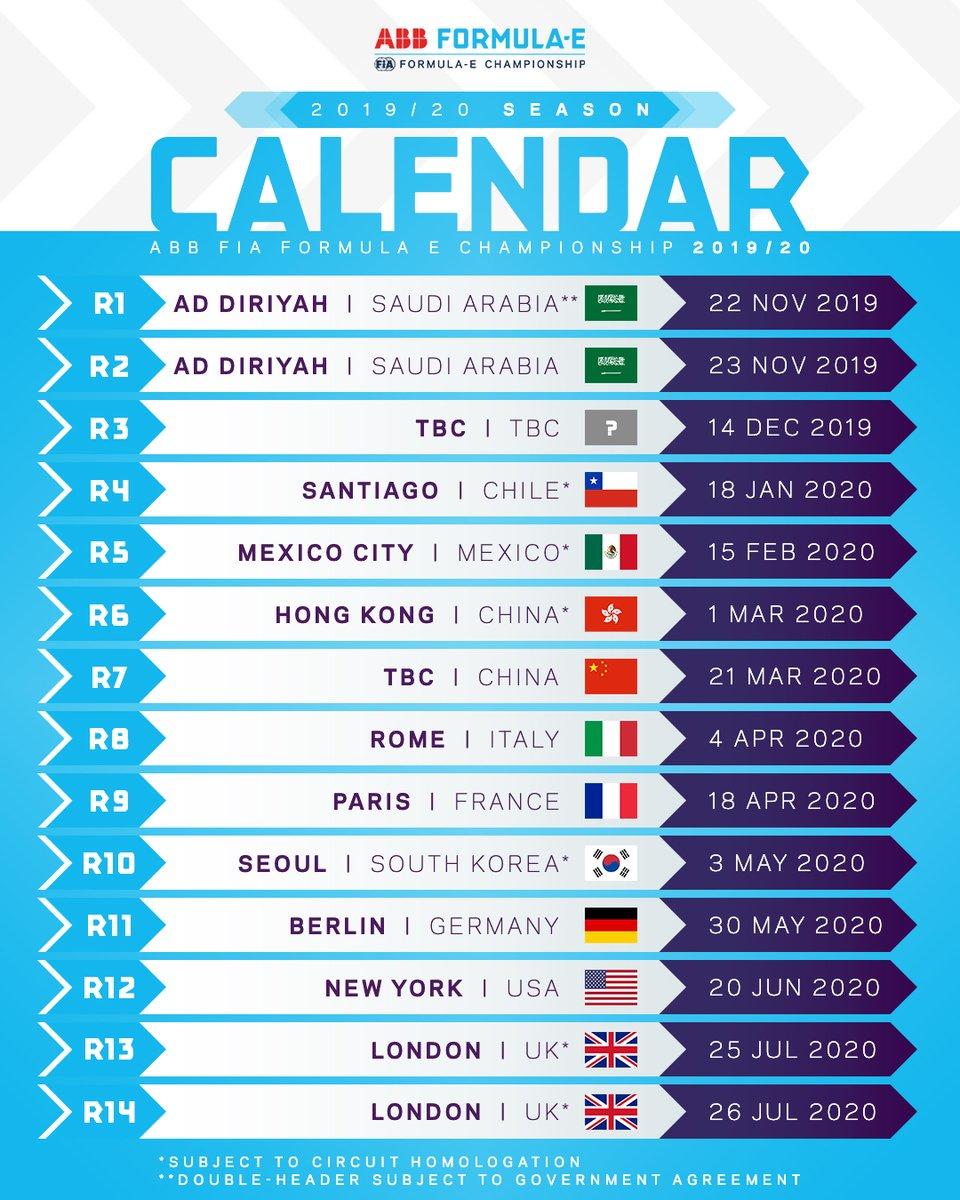 Calendario Internazionale 2020.Formula E Pubblicato Il Calendario Provvisorio 2019 2020