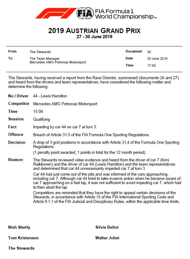 F1 | GP Austria: +3 per Hamilton e Russell in griglia per impeding in qualifica 1