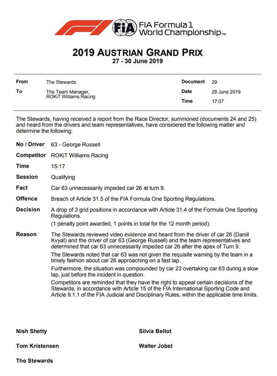 F1 | GP Austria: +3 per Hamilton e Russell in griglia per impeding in qualifica 2
