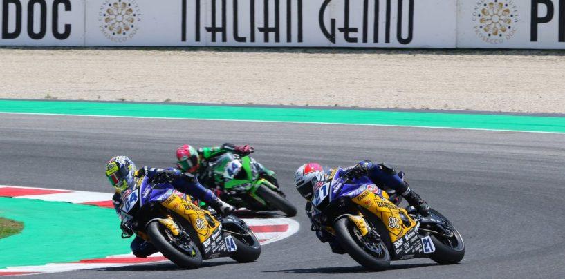 """<span class=""""entry-title-primary"""">GP Riviera di Rimini, SSP600: Krummenacher batte in volata Caricasulo</span> <span class=""""entry-subtitle"""">I due del team Evan Bros si sfidano incuranti del rischio. Mahias terzo su Kawasaki</span>"""