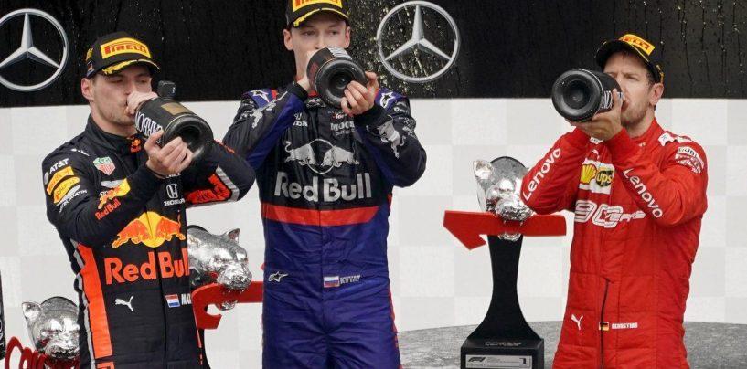 """<span class=""""entry-title-primary"""">Dal podio della redenzione si alza un grido: """"alla faccia vostra""""</span> <span class=""""entry-subtitle"""">Verstappen, Vettel, Kvyat, un podio di conferme e rinascite</span>"""