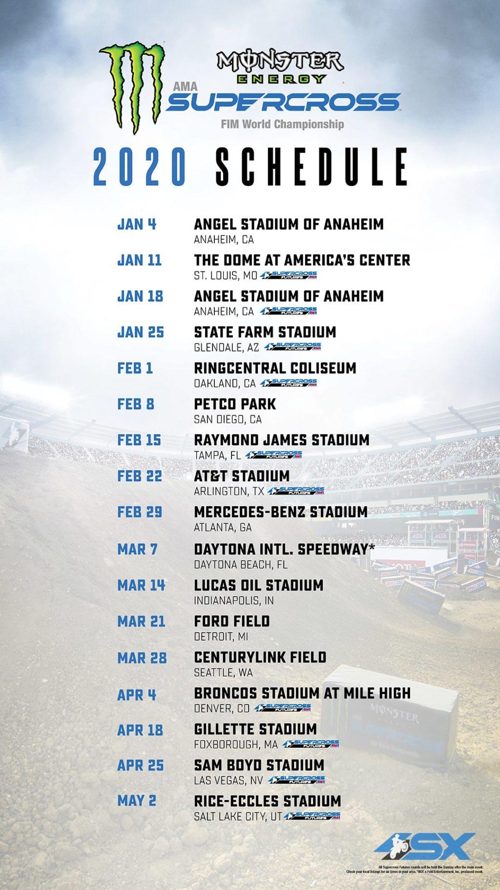Supercross | Il calendario della stagione 2020 1