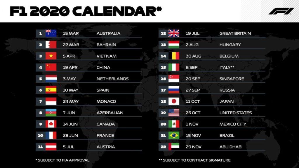 F1 | Il calendario provvisorio della stagione 2020 1