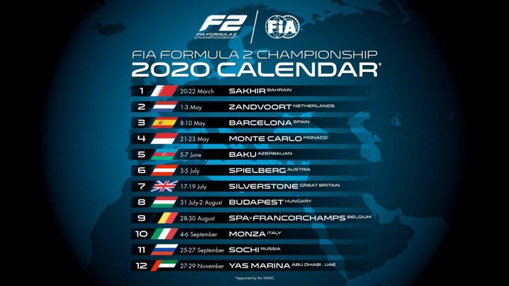 F2 | Pubblicato il calendario 2020