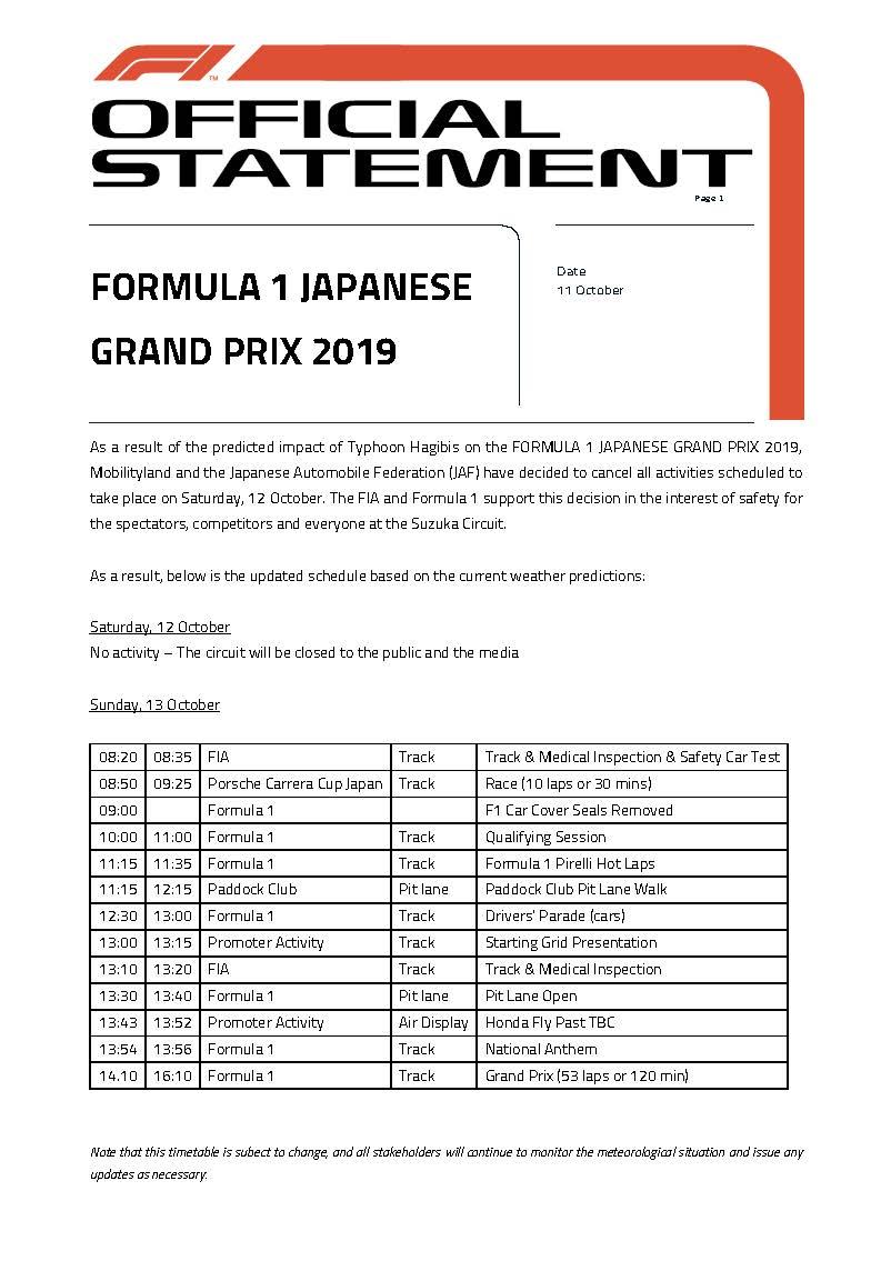 F1 | GP Giappone, cancellata l'attività del sabato per il tifone Hagibis 1