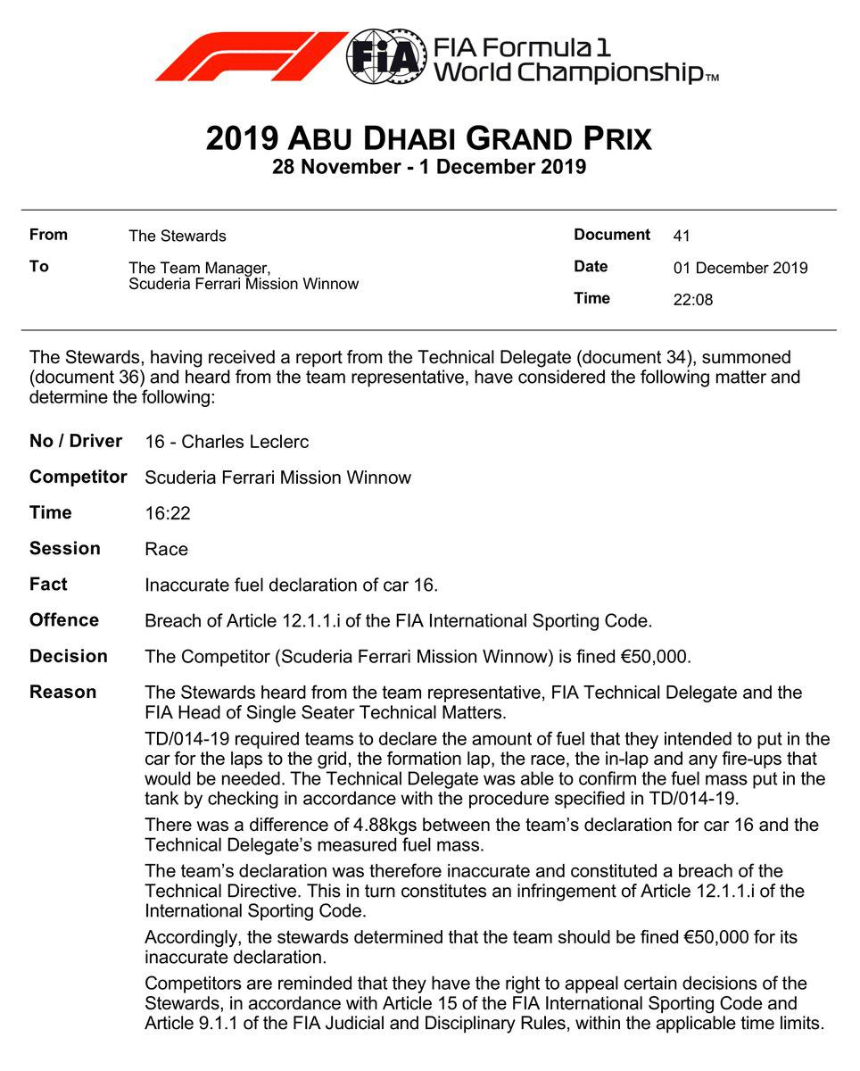 F1 | GP Abu Dhabi, Ferrari multata per la discrepanza nella benzina di Leclerc 2