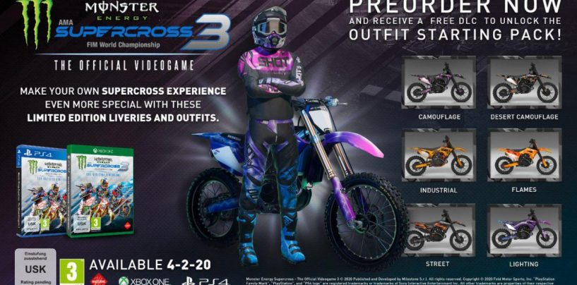 "<span class=""entry-title-primary"">In uscita Monster Energy Supercross – The Official Videogame 3</span> <span class=""entry-subtitle"">Insieme alla nuova fisica, Milestone ha annunciato l'apertura dei pre-order e dei bonus in-game su Xbox e PlayStation</span>"